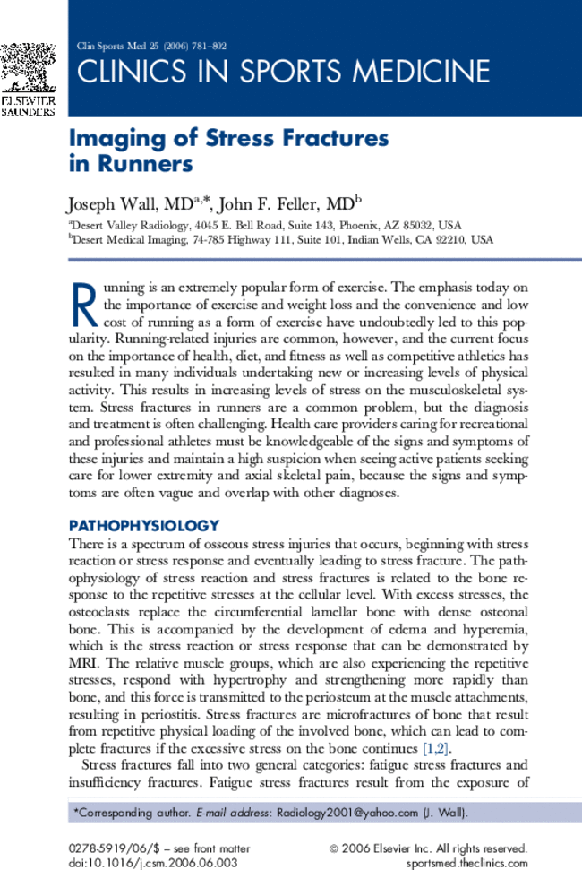 Imaging Of Stress Fractures In Runners Clinics In Sports Medicine