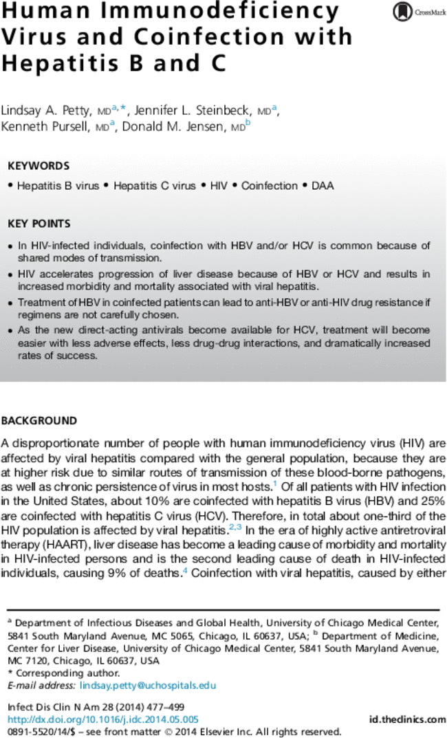 human immunodeficiency virus and coinfection with hepatitis b and c rh journals elsevierhealth com