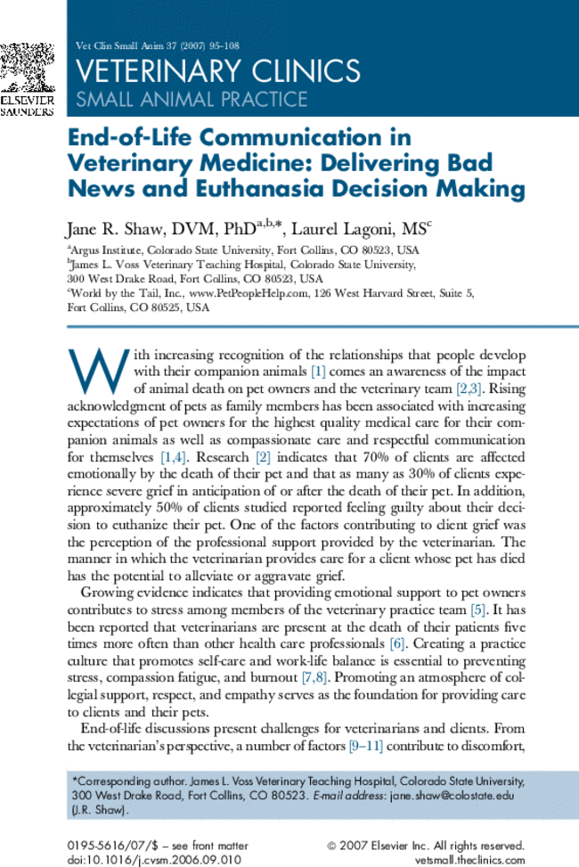 End-of-Life Communication in Veterinary Medicine: Delivering Bad ...