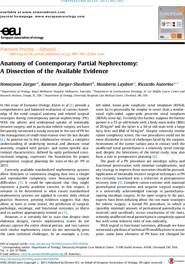 Anatomy Of Contemporary Partial Nephrectomy A Dissection Of The