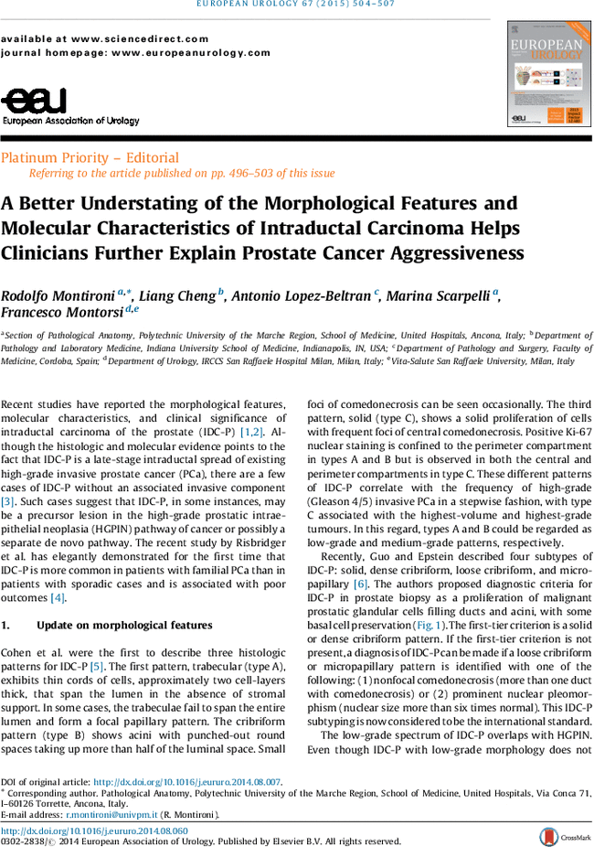 A Better Understating of the Morphological Features and Molecular ...
