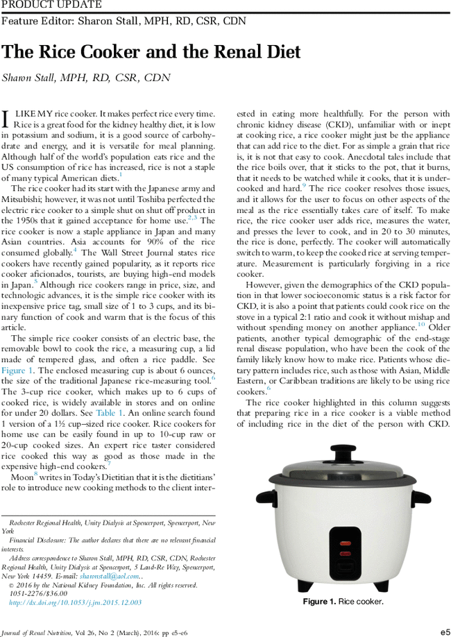 the rice cooker and the renal diet journal of renal nutrition