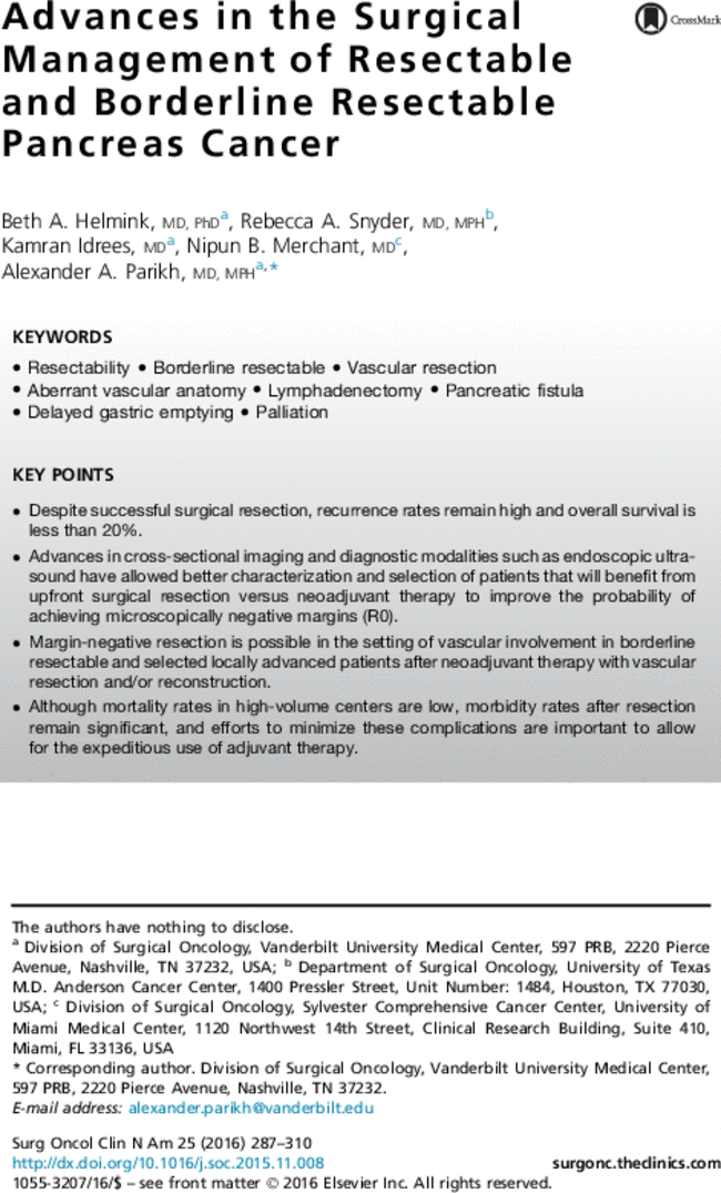 Advances In The Surgical Management Of Resectable And Borderline