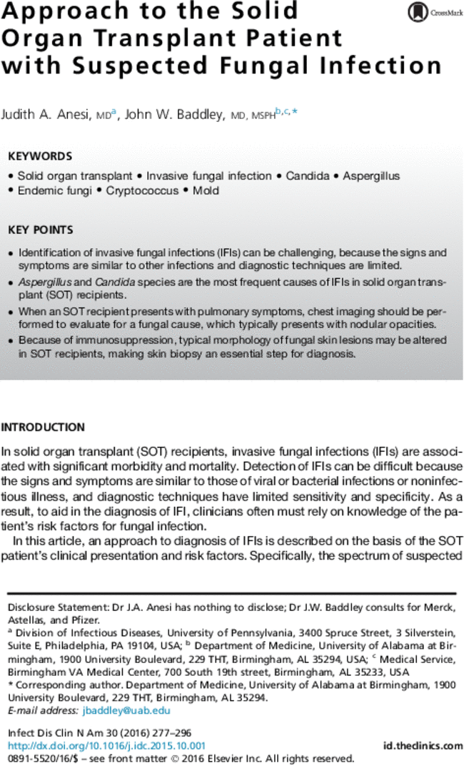 approach to the solid organ transplant patient with suspected fungal rh journals elsevierhealth com
