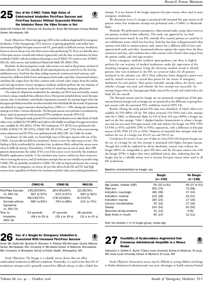 25 Use Of The C Mac Yields High Rates Of Endotracheal Intubation