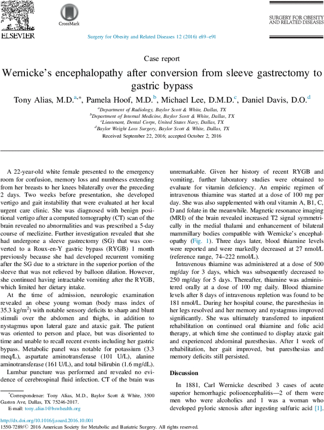 Wernicke S Encephalopathy After Conversion From Sleeve Gastrectomy