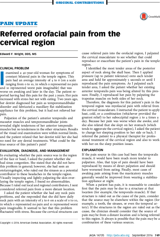 Referred orofacial pain from the cervical region - The Journal of ...