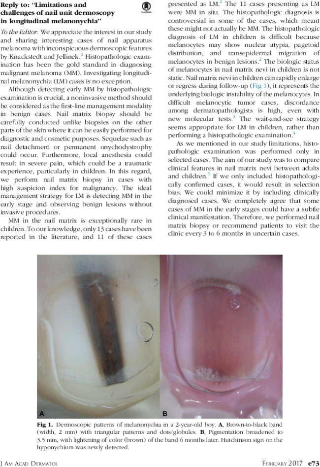 "Reply to: ""Limitations and challenges of nail unit dermoscopy in ..."