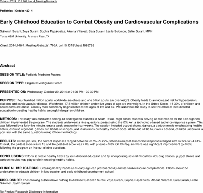 Early childhood education to combat obesity and cardiovascular first page of article publicscrutiny Images
