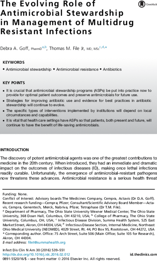 the evolving role of antimicrobial stewardship in management of rh journals elsevierhealth com