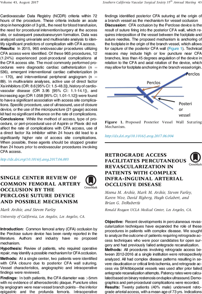 Single Center Review Of Common Femoral Artery Occlusion By The